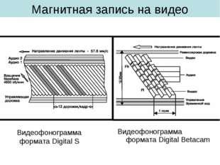 Магнитная запись на видео Видеофонограмма формата Digital Betacam Видеофоногр