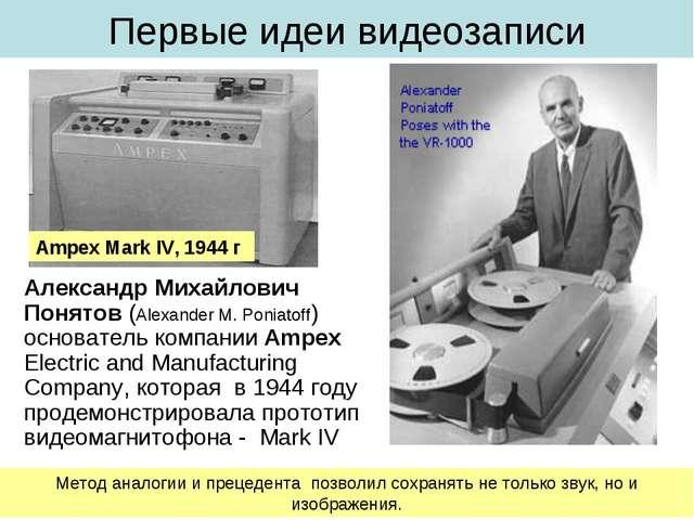 Первые идеи видеозаписи Александр Михайлович Понятов (Alexander M. Poniatoff)...