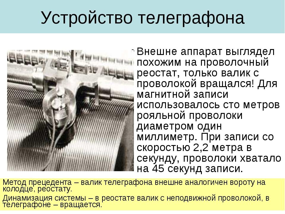 Устройство телеграфона Внешне аппарат выглядел похожим на проволочный реостат...
