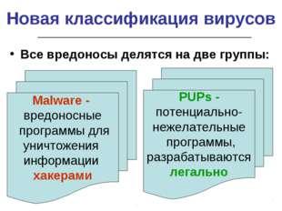 Новая классификация вирусов Все вредоносы делятся на две группы: Malware - вр