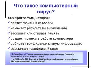 Что такое компьютерный вирус? это программа, которая: портит файлы и каталоги