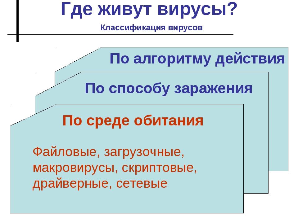 Где живут вирусы? Классификация вирусов По способу заражения По алгоритму дей...