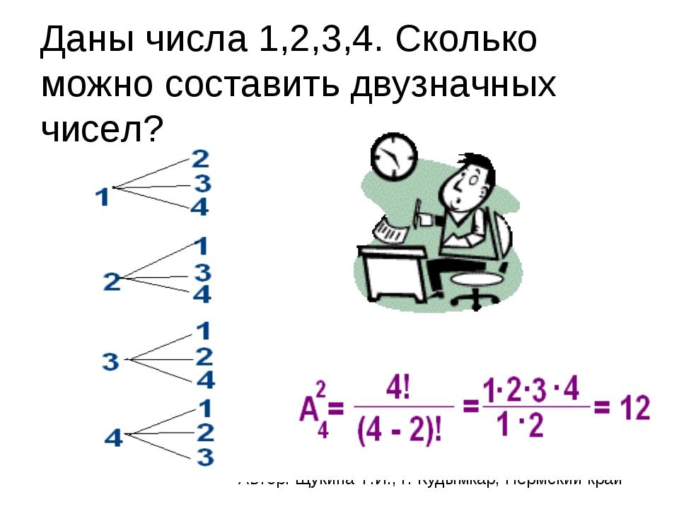 Даны числа 1,2,3,4. Сколько можно составить двузначных чисел? Автор: Щукина Т...