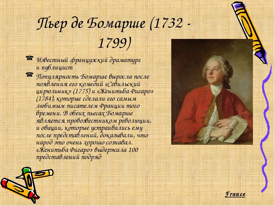 Пьер де Бомарше (1732 - 1799) Известный французский драматург ипублицист Поп...