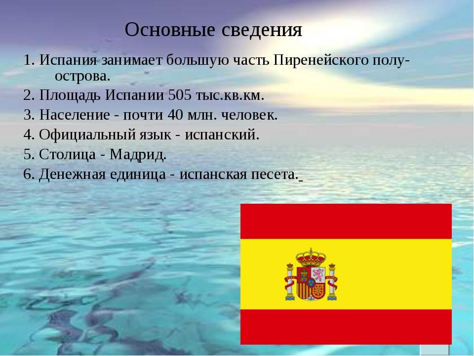 1. Испания занимает большую часть Пиренейского полу-острова. 2. Площадь Испан...