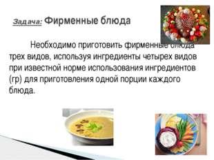 Необходимо приготовить фирменные блюда трех видов, используя ингредиенты че