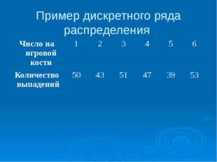 Пример дискретного ряда распределения Число на игровой кости 1 2 3 4 5 6 Коли