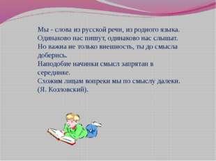 Мы - слова из русской речи, из родного языка. Одинаково нас пишут, одинаково