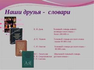 Наши друзья - словари В. И. Даль Толковый словарь живого великорусского языка