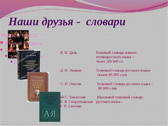 Наши друзья - словари В. И. Даль Толковый словарь живого великорусского языка...