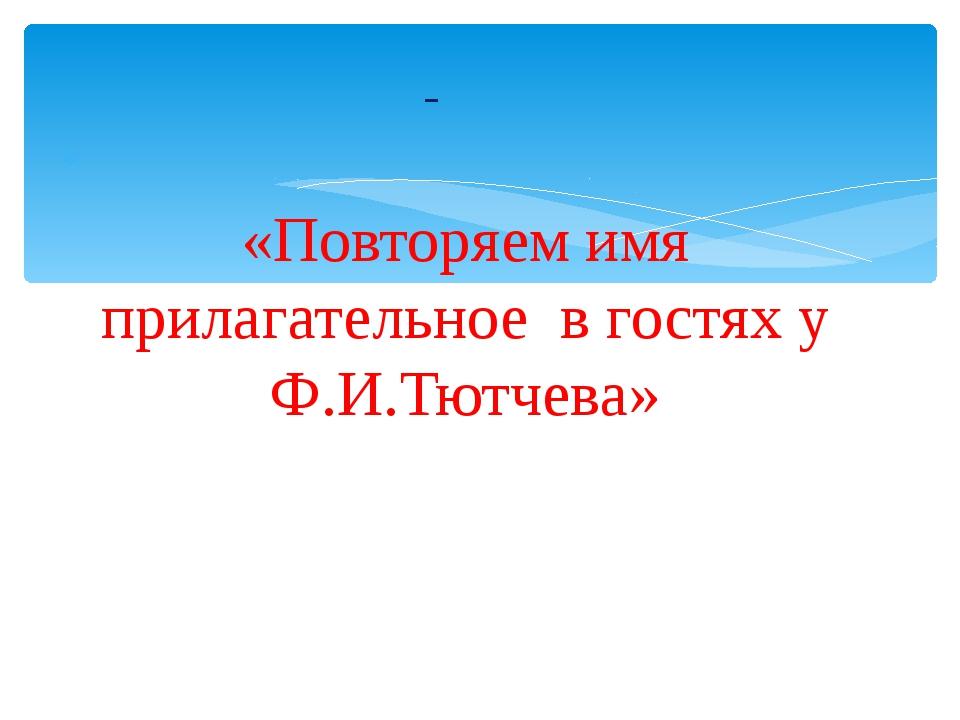 «Повторяем имя прилагательное в гостях у Ф.И.Тютчева»