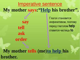 "Imperative sentence My mother says:""Help his brother"". say tell ask order My"