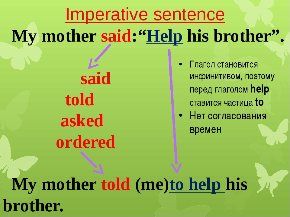 "Imperative sentence My mother said:""Help his brother"". said told asked ordere..."