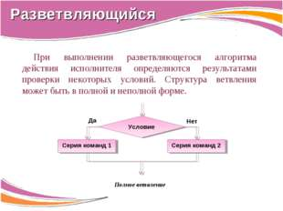 При выполнении разветвляющегося алгоритма действия исполнителя определяются р