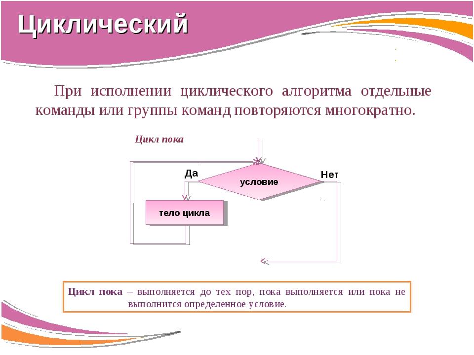 При исполнении циклического алгоритма отдельные команды или группы команд пов...