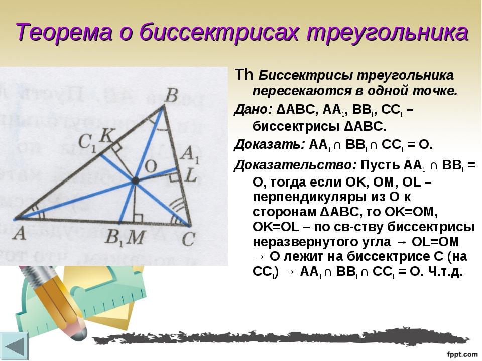 Теорема о биссектрисах треугольника Th Биссектрисы треугольника пересекаются...