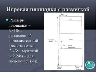Игровая площадка с разметкой Размеры площадки – 9х18м, разделенной пополам се