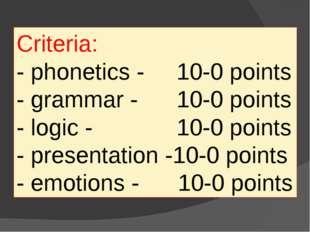 Criteria: - phonetics - 10-0 points - grammar - 10-0 points - logic - 10-0 po