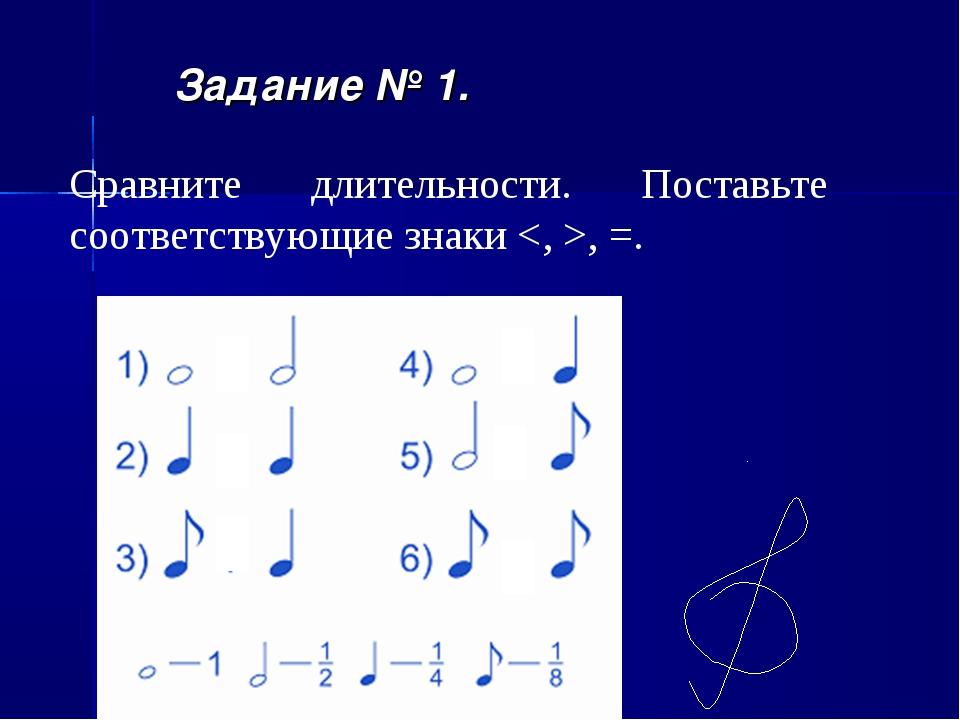 Задание № 1. Сравните длительности. Поставьте соответствующие знаки , =.