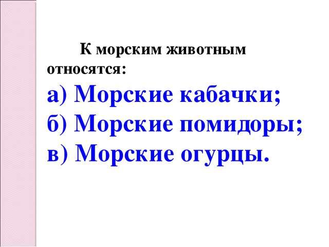 К морским животным относятся: а) Морские кабачки; б) Морские помидоры; в) Мо...