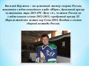 Василий Варлаков– заслуженный мастер спорта России, защитник следж-хоккейног