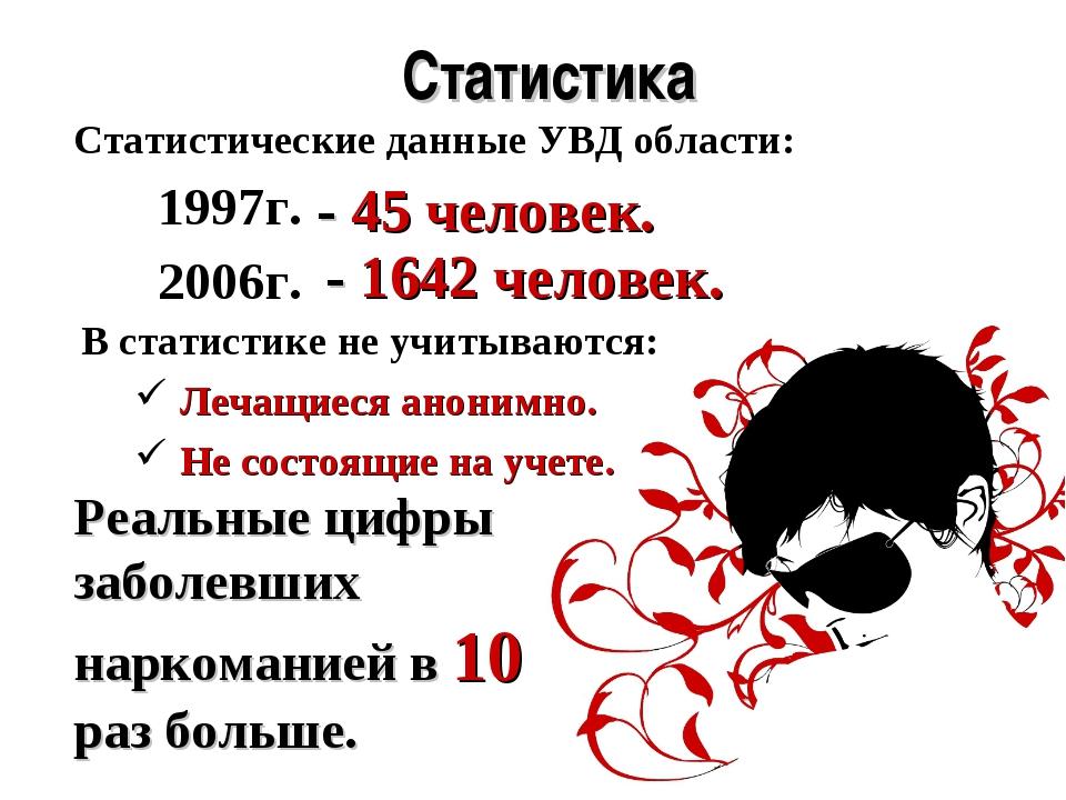 Статистика Статистические данные УВД области: 1997г. - 45 человек. 2006г. - 1...