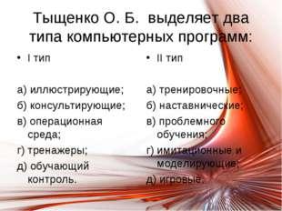 Тыщенко О. Б. выделяет два типа компьютерных программ: I тип а) иллюстрирующи