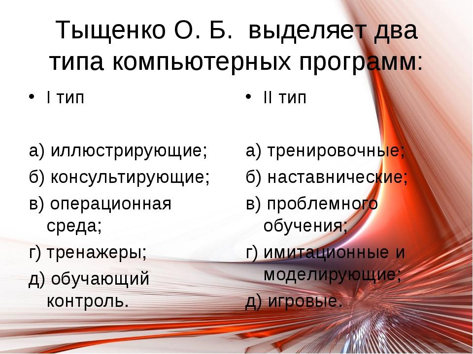 Тыщенко О. Б. выделяет два типа компьютерных программ: I тип а) иллюстрирующи...