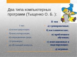 Два типа компьютерных программ (Тыщенко О. Б. ): I тип а) иллюстрирующие; б)