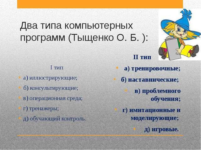 Два типа компьютерных программ (Тыщенко О. Б. ): I тип а) иллюстрирующие; б)...