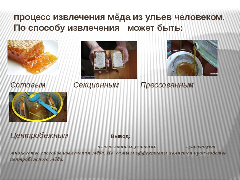процесс извлечения мёда из ульев человеком. По способу извлечения может быть:...