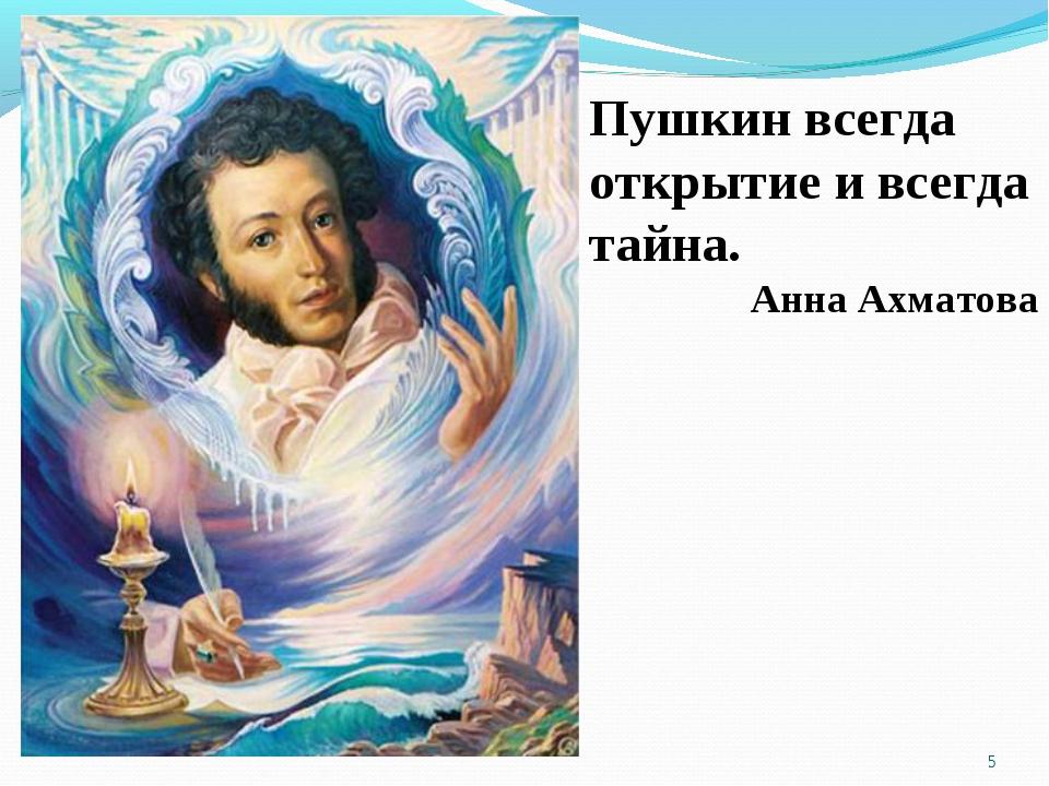 Пушкин всегда открытие и всегда тайна. Анна Ахматова *