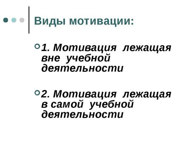 Виды мотивации: 1. Мотивация лежащая вне учебной деятельности 2. Мотивация ле...