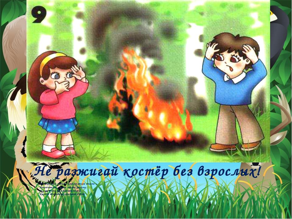 Не разжигай костёр без взрослых! Без взрослых с огнём развлекаться опасно –...