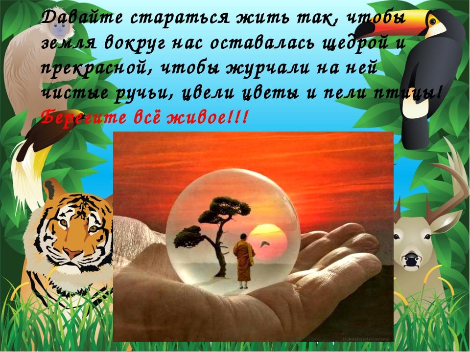 Давайте стараться жить так, чтобы земля вокруг нас оставалась щедрой и прекра...