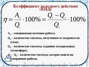 Коэффициент полезного действия (КПД) Aп – совершаемая полезная работа; Q1 –