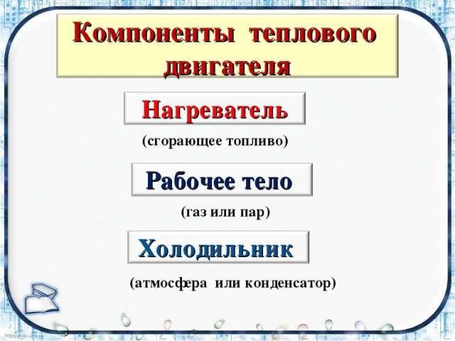 (сгорающее топливо) (газ или пар) (атмосфера или конденсатор)