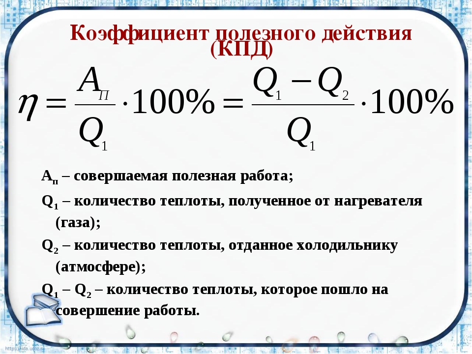 Коэффициент полезного действия (КПД) Aп – совершаемая полезная работа; Q1 –...