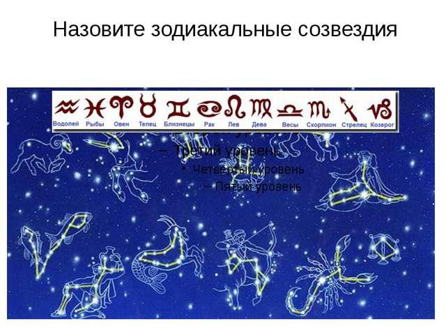 Назовите зодиакальные созвездия