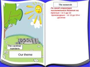 По своей структуре числительные делятся на: простые – от 1 до 12 производные
