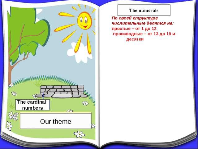 По своей структуре числительные делятся на: простые – от 1 до 12 производные...
