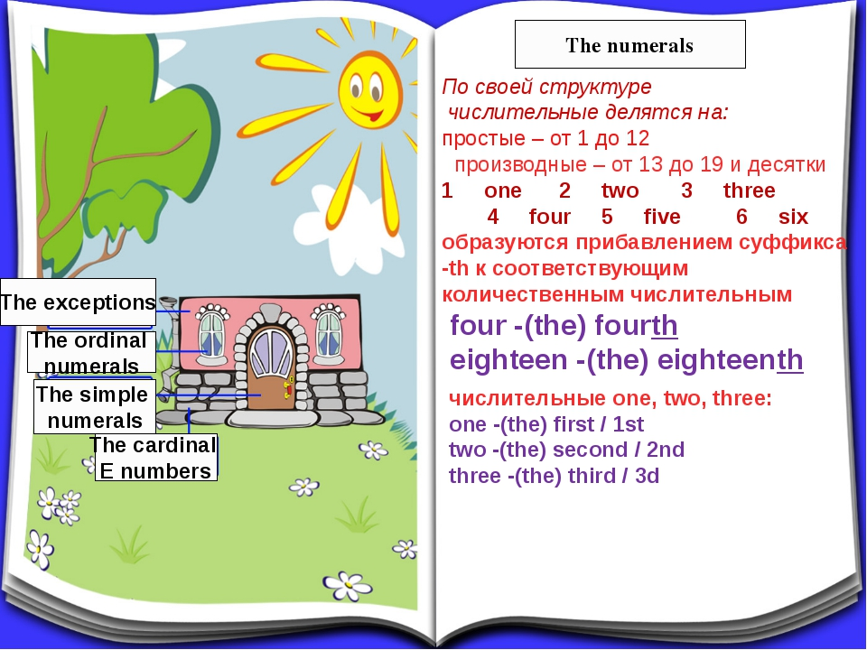 The cardinal E numbers The simple numerals The ordinal numerals The exception...