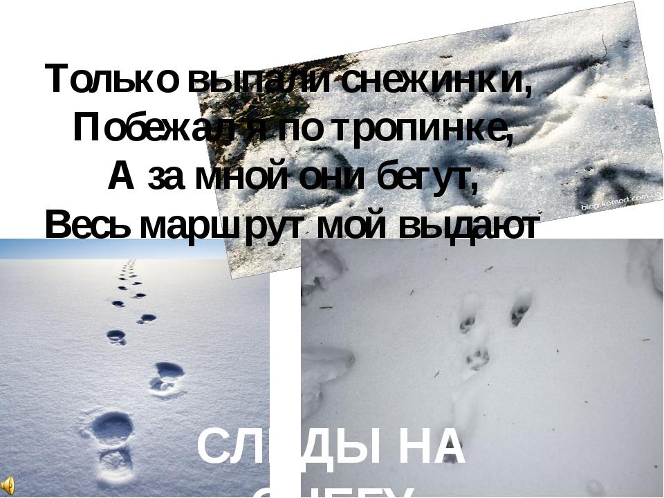 Только выпали снежинки, Побежал я по тропинке, А за мной они бегут, Весь марш...