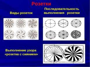 Виды розеток Выполнение узора «розетка с сиянием» Последовательность выполне