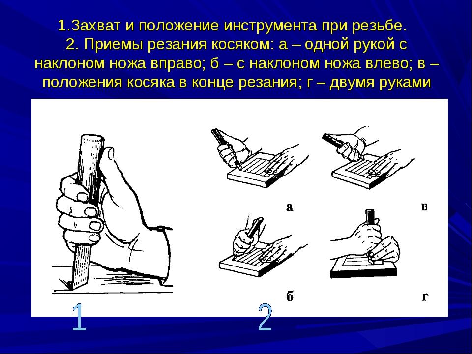 1.Захват и положение инструмента при резьбе. 2. Приемы резания косяком: а – о...