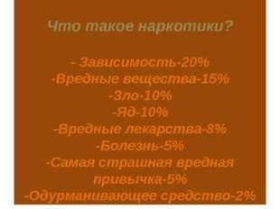 Что такое наркотики? - Зависимость-20% -Вредные вещества-15% -Зло-10% -Яд-10