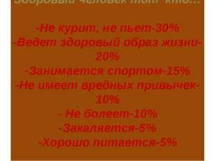 Здоровый человек тот кто… -Не курит, не пьет-30% -Ведет здоровый образ жизни