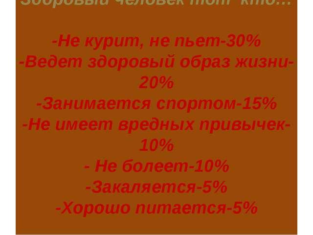 Здоровый человек тот кто… -Не курит, не пьет-30% -Ведет здоровый образ жизни...