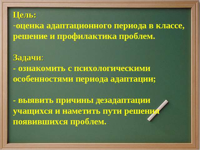 Цель: оценка адаптационного периода в классе, решение и профилактика проблем....