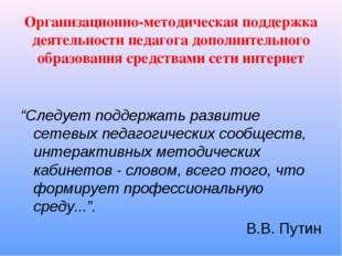 Организационно-методическая поддержка деятельности педагога дополнительного о